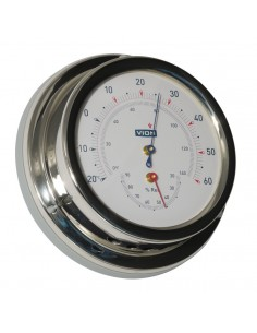 Thermometer / Hygrometer - Glanzend RVS - 129 mm
