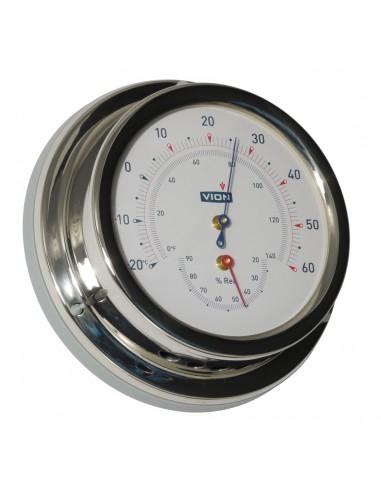 Thermometer / Hygrometer - Glanzend RVS - 129 mm - VION - Scheepsinstrumenten - A100 TH - €95,00