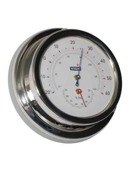 <p>De thermometer en hygrometer van Vion is van gemaakt van glanzend rvs en acrylglas. Doordat het een tijdloos en strak ontwerp is, past deze bij elk interieur! De nauwkeurigheid van het meten is ±2,5% en de thermo en hygrometer heeft 3 jaar garantie vanaf de aankoopdatum. <br /><strong>Afmetingen:</strong> 129 mm doorsnede / 40 mm diepte <strong>Materiaal:</strong> glanzend rvs / acryl glas</p>