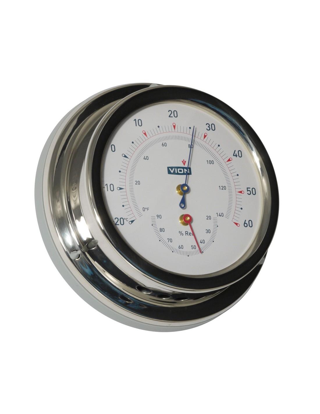 Thermometer / Hygrometer - Glanzend RVS - 129 mm