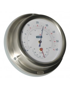 Thermometer / Hygrometer - Geborsteld RVS - 129 mm