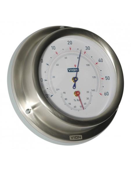 <p>Zeer nauwkeurige thermometer en hygrometer met een nauwkeurigheid van±2,5%! De hygrometer heeft een haar hygrometer met synthetische precisie en de thermometer is op alcohol basis. Deze mooie meter behoord tot het bekende merk Vion. <br /><strong>Afmetingen:</strong> 129 mm doorsnede / 40 mm diepte <strong>Materiaal:</strong> geborsteld rvs / acryl glas</p>