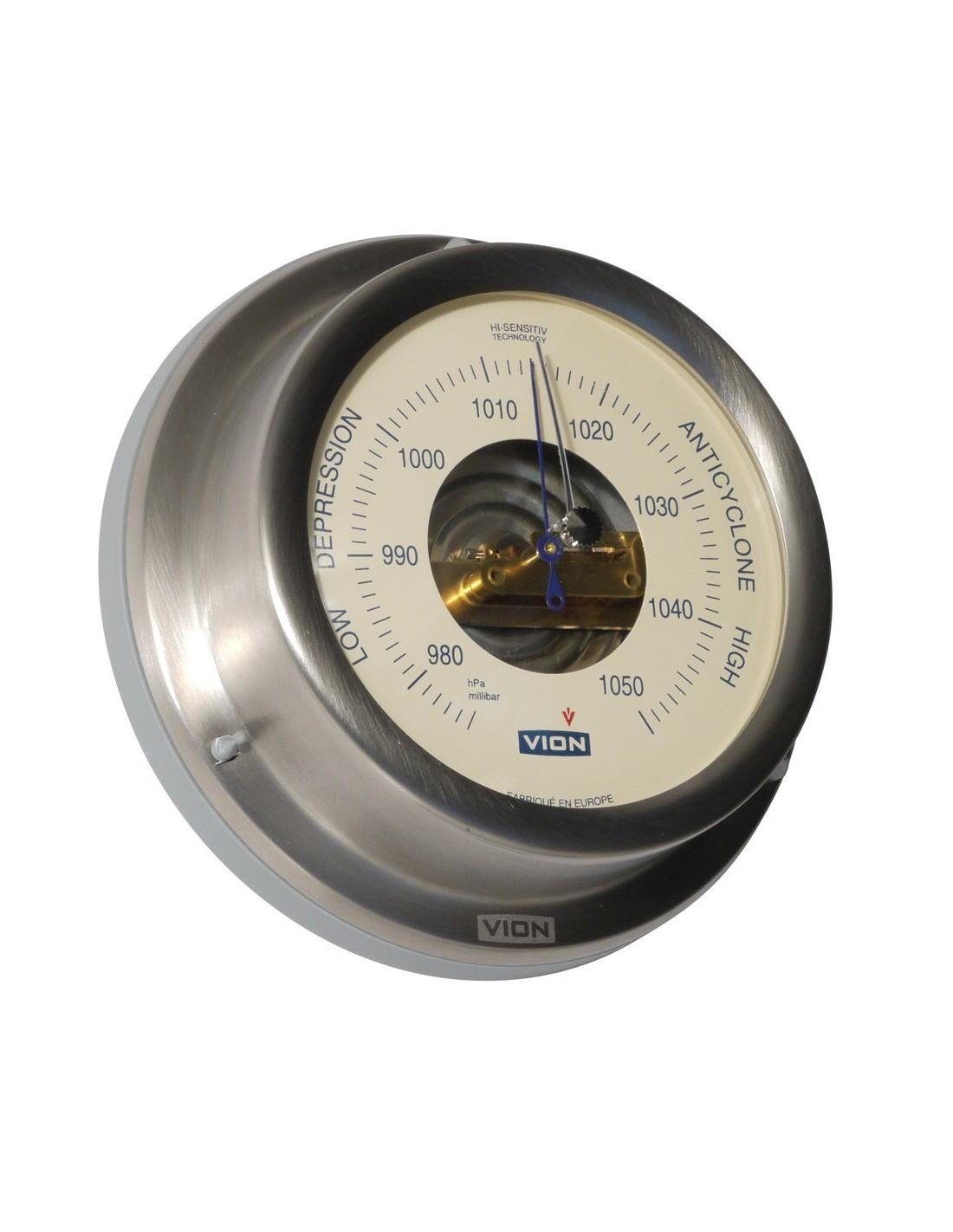 Barometer - Cremekleurig - Geborsteld RVS - 129 mm - VION - Scheepsinstrumenten - A101 B