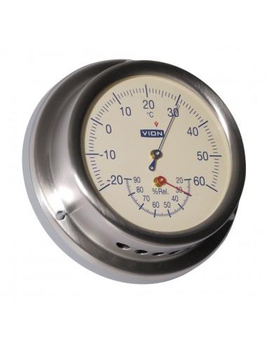 Thermometer / Hygrometer - Cremekleurig - Geborsteld RVS - 129 mm - VION - Scheepsinstrumenten - A101 TH - €95,00