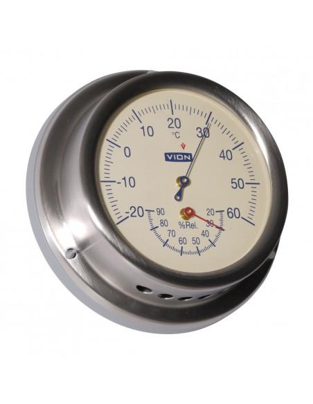<p>Deze thermometer en hygrometer is van het bekende merk Vion. Deze meter meet met een nauwkeurigheid van ±2,5%! De thermo en hygrometer heeft een prachtige creme kleurige wijzerplaat voor een elegante klassieke uitstraling. De thermo en hygrometer wordt inclusief geleverd met speciale wandbevestiging. <br /><strong>Afmetingen:</strong> 129 mm doorsnede / 40 mm diepte <strong>Materiaal:</strong> geborsteld rvs / acryl glas</p>