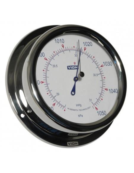 <p>Deze Vion barometer is gemaakt van glanzend rvs en met de meegeleverde wandbevestiging kan deze aan de wand worden bevestigd. Het is een moderne barometer met een duidelijk zichtbare wijzerplaat en wijzers. Deze high-sensitivity barometer is onmisbaar op je boot of schip!<br /><strong>Afmetingen: </strong>150 mm doorsnede / 42 mm diepte <strong>Materiaal:</strong> glanzend rvs / acryl glas</p>