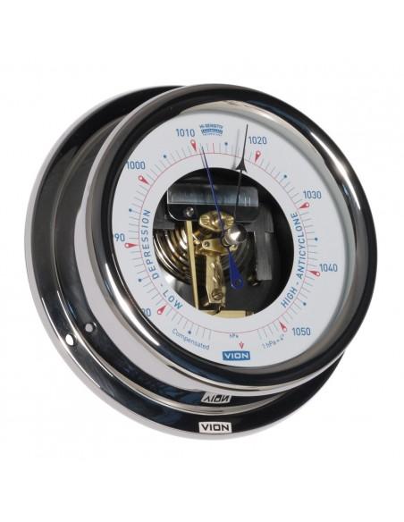 <p>Deze prachtige Vion barometer met open wijzerplaat is een echte eye catcher! Door dat deze luchtdrukmeter uitgerust is met high sensitivity techniek is hij zeer nauwkeurig. De behuizing is vervaardigd van glanzend rvs en heeft een witte wijzerplaat.<br /><strong>Afmetingen: </strong>150 mm doorsnede / 42 mm diepte <strong>Materiaal:</strong> glanzend rvs / acryl glas</p>