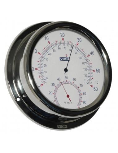 Thermometer / Hygrometer - Glanzend RVS - 150 mm - VION - Scheepsinstrumenten - A130 TH - €99,00