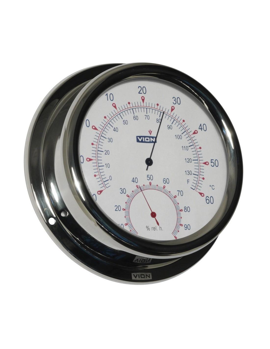Thermometer / Hygrometer - Glanzend RVS - 150 mm - VION - Scheepsinstrumenten - A130 TH