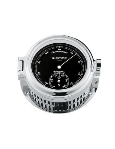 REGATTA - Thermometer / Hygrometer - Verchroomd - Zwart / Wit - 140 x 47 mm - Wempe - Scheepsinstrumenten - CW170009 - €395,50