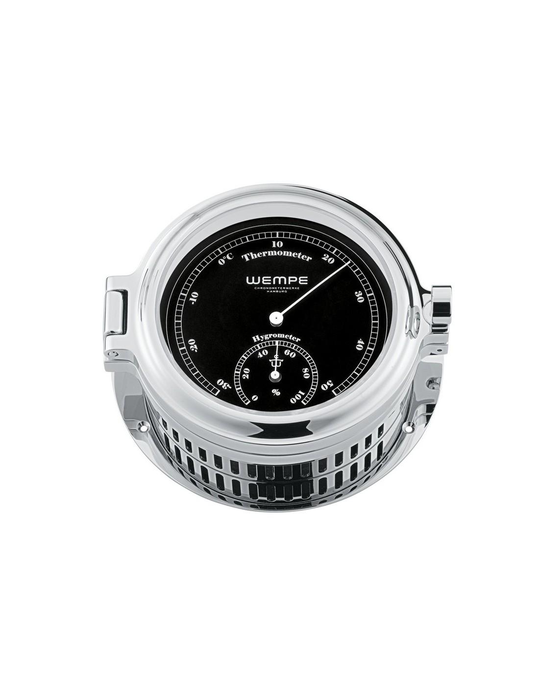 REGATTA - Thermometer / Hygrometer - Verchroomd - Zwart / Wit - 140 x 47 mm - Wempe - Scheepsinstrumenten - CW170009