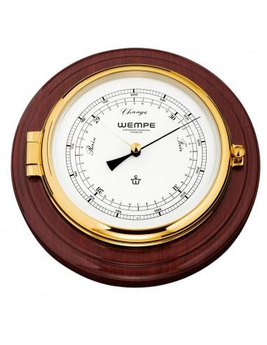 SKIPPER - Barometer Op Mahoniehouten plank - Messing - 210 x 50 mm - Wempe - Scheepsinstrumenten - CW400002 - €364,50