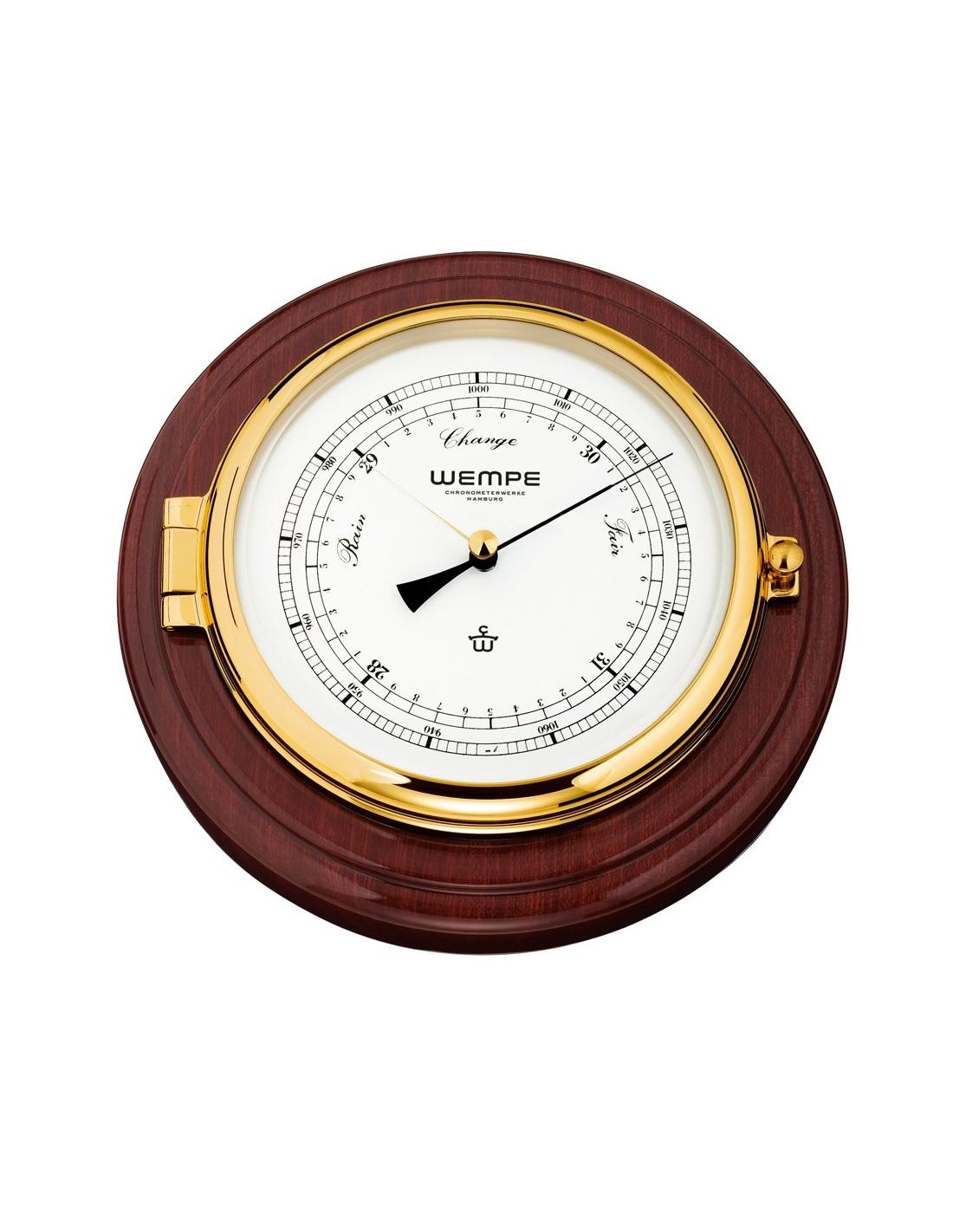 SKIPPER - Barometer Op Mahoniehouten plank - Messing - 210 x 50 mm