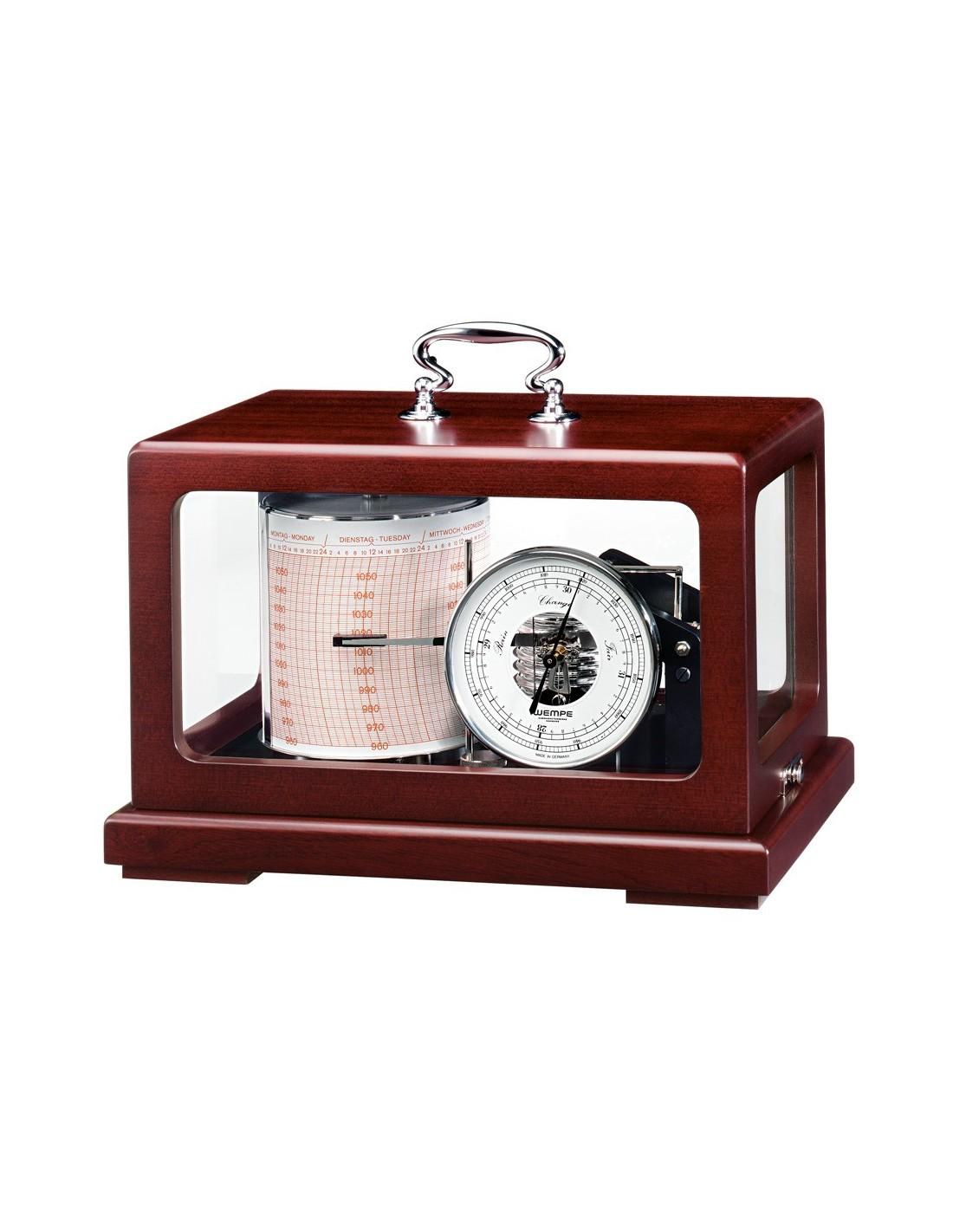 Trommel Barograaf - Metaal Zwart / Mahonie - Quartz - Oliegedempt - 265 x 170 x 175 mm