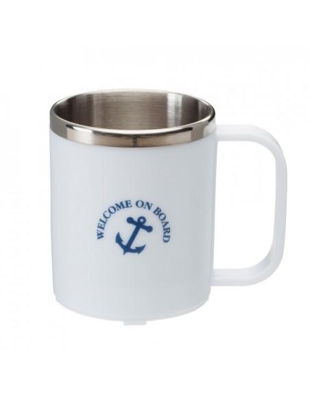 <p>Deze prachtige koffiebeker ziet er niet alleen goed uit hij is ook erg handig! De beker bevat in de binnenzijde rvs dat zorgt ervoor dat je koffie of andere warme drank goed op temperatuur blijft! De koffiebeker is van het merk Welcome On Board en heeft een mooie nautische opdruk. <br /><strong>Kleur:</strong> wit</p>
