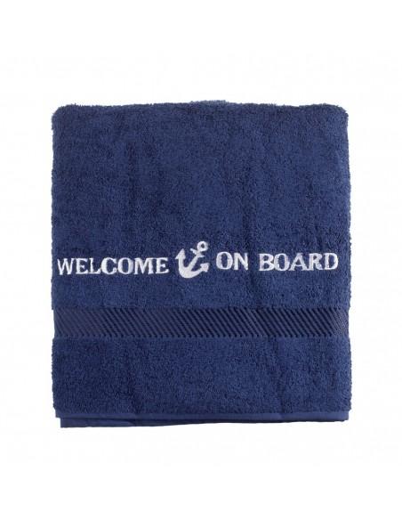 <p>Mooi badlaken ideaal voor op het strand, zwembad of bij zonnen op het dek van jouw schip! Hij is heerlijk zacht. Het badlaken heeft een mooie geborduurde tekst en is gemaakt van 100% katoen van hoge kwaliteit, het merk Welcome on board voor staat daarvoor. Deze collectie heeft ook gastendoekjes en een andere maat handdoek in zijn bezit. <br /><strong>Afmetingen:</strong> 70 x 140 cm <strong>Materiaal:</strong> katoen <strong>Kleur:</strong> marine blauw</p>