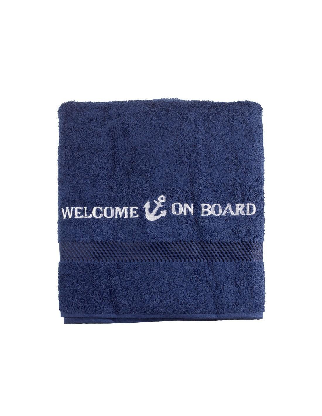 Badlaken - Navy - 70 x 140 cm - Welcome On Board - Textiel - 10149803