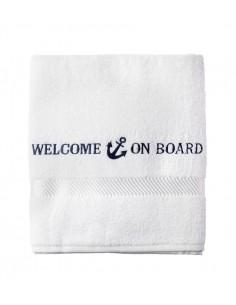 Badlaken - Wit - 70 x 140 cm - Welcome On Board - Textiel - 10149806