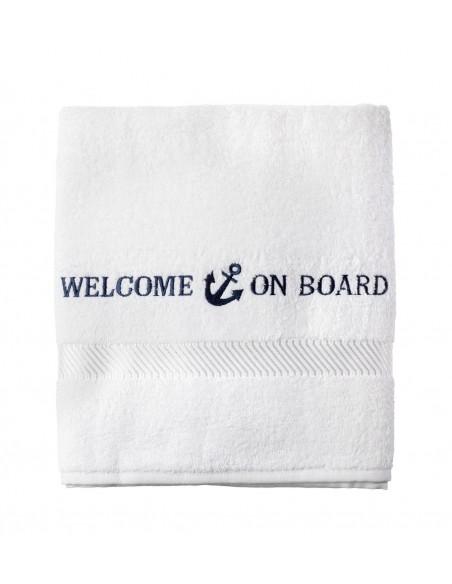 <p>Dit badlaken heeft een mooie geborduurde tekst met 'Welcome On Board' en is gemaakt van 100% katoen met een kwaliteit van wel 500 gr/m². Dit badlaken behoord tot het merk Welcome On Board, is in drie verschillende maten en in twee verschillende kleuren te bestellen. Dit witte badlaken is toch onmisbaar na het douchen of dagje strand! <br /><strong>Afmetingen:</strong> 70 x 140 cm <strong>Materiaal:</strong> katoen <strong>Kleur:</strong> wit</p>